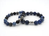 Brync Black Blue sodalite onyx Men Women Beaded Bracelet