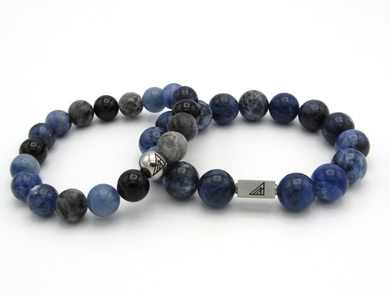 Brync Blue black grey Sodalite Large Men Women Beaded Bracelet 12mm