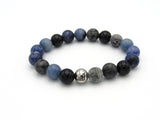 Brync Blue Grey Black sodalite onyx Men Women Beaded Bracelets Businessman Suit