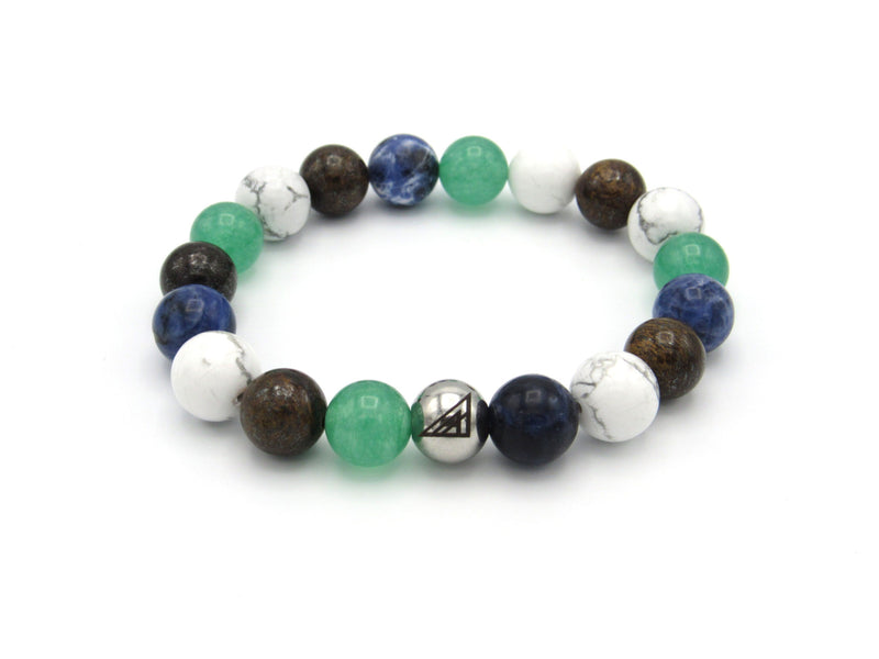 Brync Green blue brown white Peppermint  Men Women Beaded Bracelet st. Patrick's day