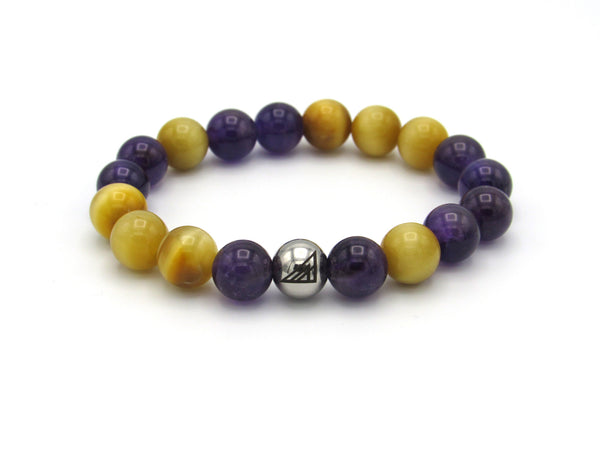 Brync Purple Gold Amethyst Men Women Beaded Bracelet