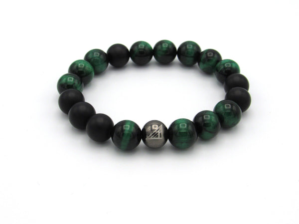 Brync Green Tiger Eye onyx Men Women Beaded Bracelet St. Patrick's day