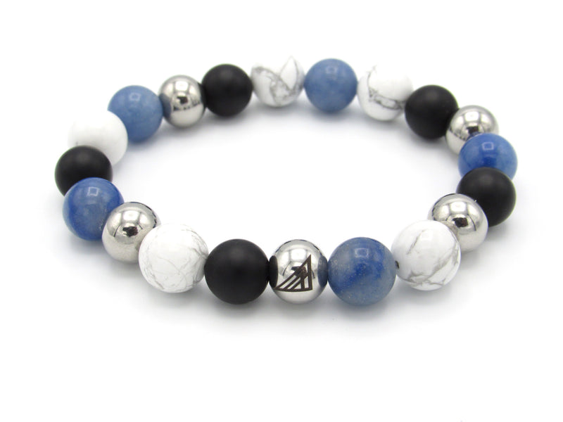 Brync Black Onyx white blue   Men Women Beaded Bracelet jordans
