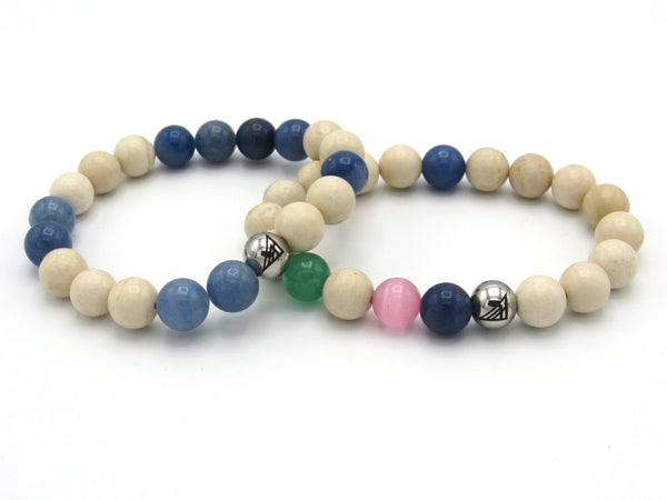 Brync Pink and Green blue beige off-white natural Men Women Beaded Bracelet Easter