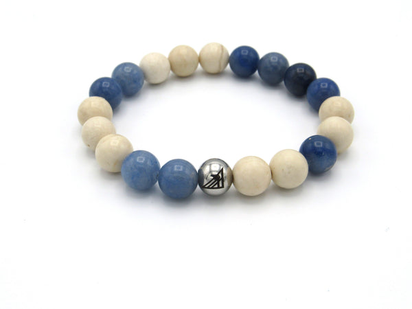 Brync blue beige off-white natural Men Women Beaded Bracelet Easter