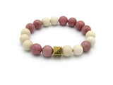 Brync Pink and white beige gold  Men Women Beaded Bracelet