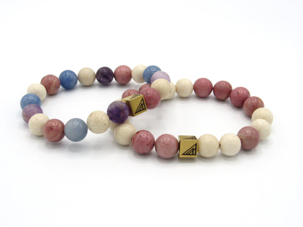 Brync Pink White beige gold blue purple Men Women Beaded Bracelet