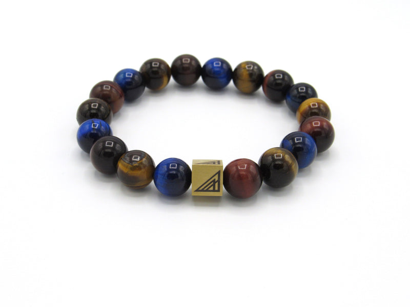 Brync Red Brown Blue Tiger Eye  Men Women Beaded Bracelet