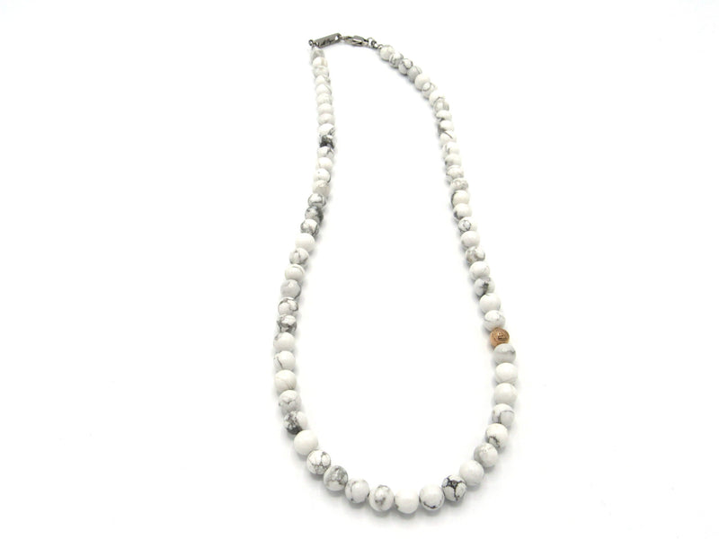 Brync White Howlite  Rose Gold Men Women Beaded Necklace
