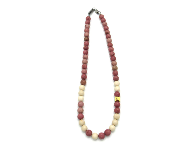 Brync Pink and white beige gold natural Men Women Beaded necklace