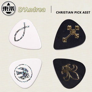 D'andrea CP23 Christian Guitar Pick Plectrum Mediator - Cross, Ichthus, Dove, Fleur de Lis
