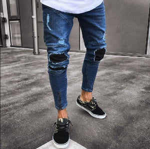 Men's Skinny Holes Casual Pants