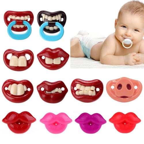 Funny Baby Pacifier Faux Human/Animal Lips, Teeth and Mouth Pacifier