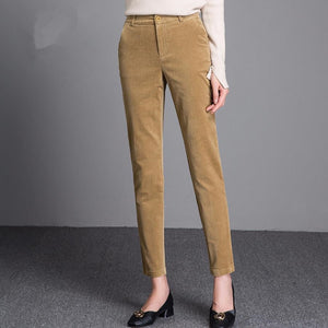 Women's Loose Straight Leg High Waist Corduroy Pants