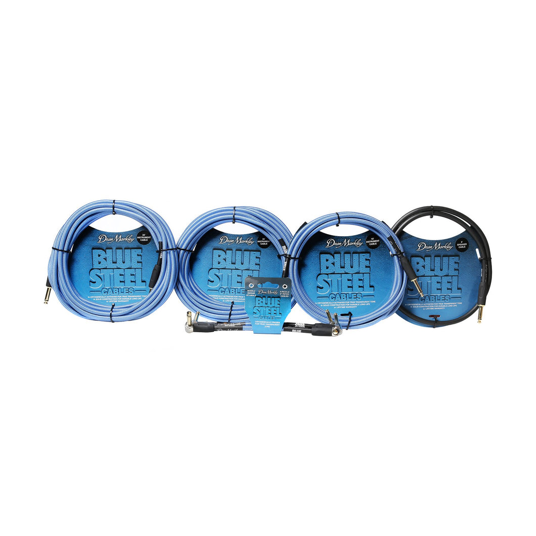 Blue Steel™ 3 Pack of 6 Inch Patch Cables, Blue Woven,  Cryogenically Treated, High Performance with Lifetime Gaurantee