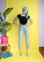Load image into Gallery viewer, vintage 90s gap light wash high waisted jeans 27x27 barbie roadkill chicago