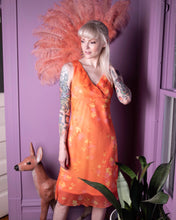 Load image into Gallery viewer, Vintage 90s y2k orange chiffon double layer dress