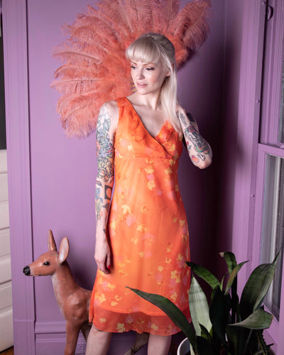 Vintage 90s y2k orange chiffon double layer dress