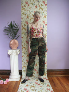 80s Military Issue Camo Cargo Pants 25x29