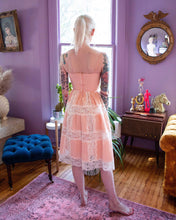 Load image into Gallery viewer, 90s Betsey Johnson Peach Lace Dress