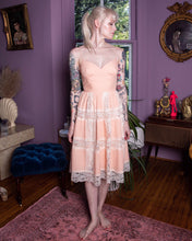 Load image into Gallery viewer, Vintage 90s Betsey Johnson Peach Lace Dress