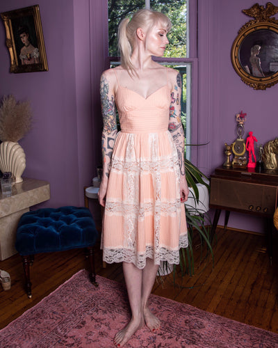 Vintage 90s Betsey Johnson Peach Lace Dress