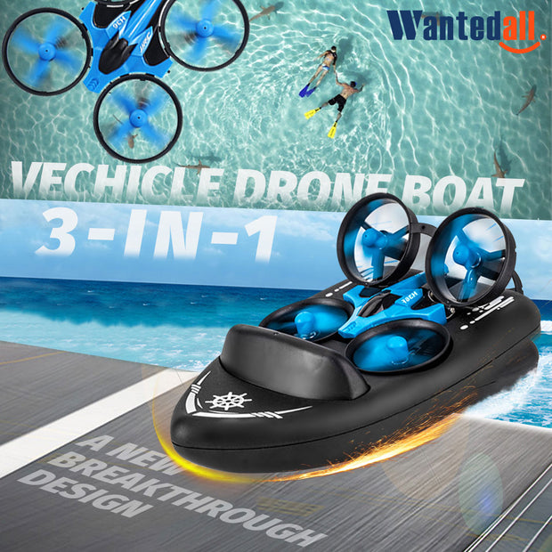 Vehicle * Drone * Boat 3 in 1 RC Toy