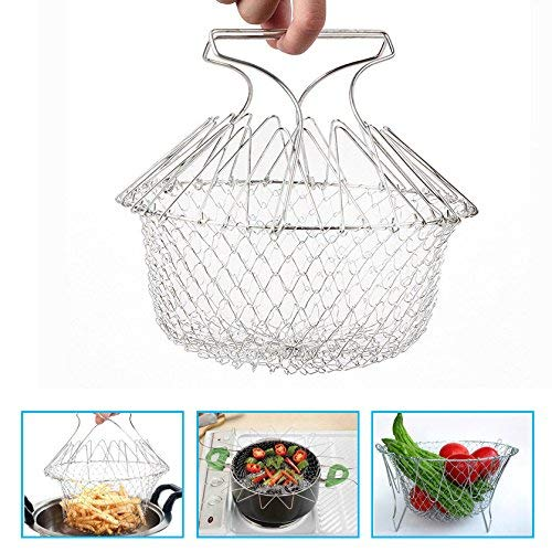 Foldable Steam Stainless Steel Frying Basket