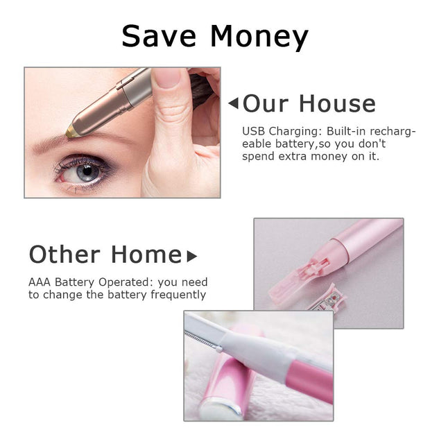 USB Electric Eyebrow Hair Remover Painless Facial Epilator
