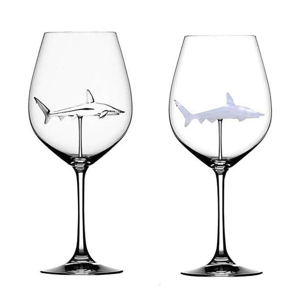 The Shark Wine Glass Crystal Goblet - Handcrafted Lead Free