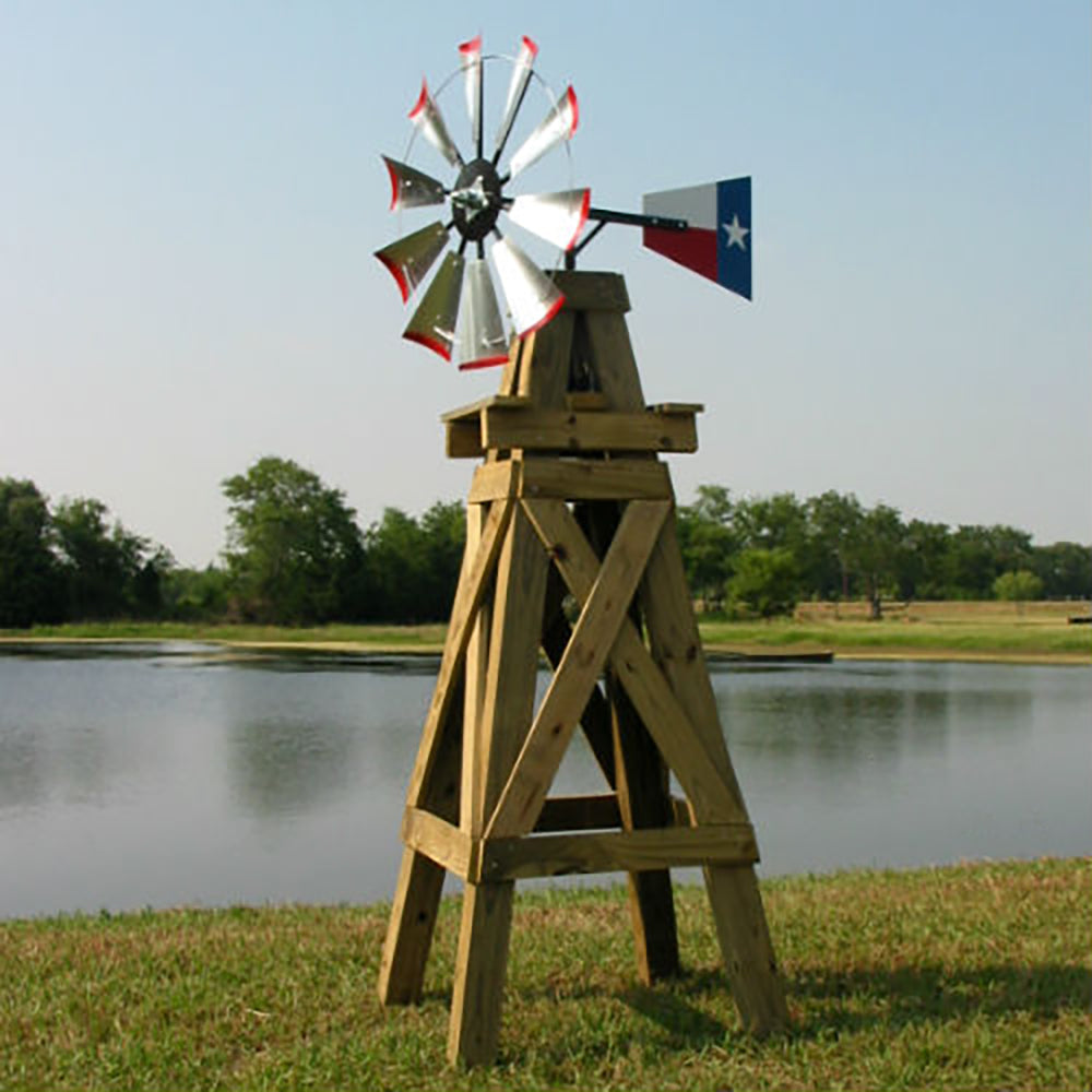 8' Windmill (Texas flag rudder and wood stand)