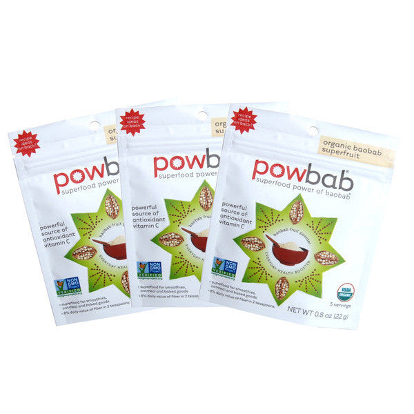 powbab organic baobab superfruit powder - 0.8 oz, 3 pack