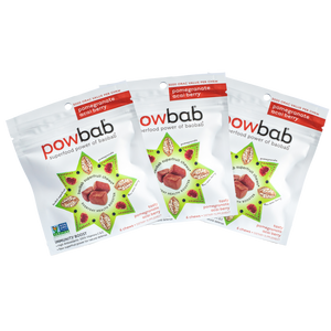 powbab baobab superfruit chews - 6 count pouch, 3 pack