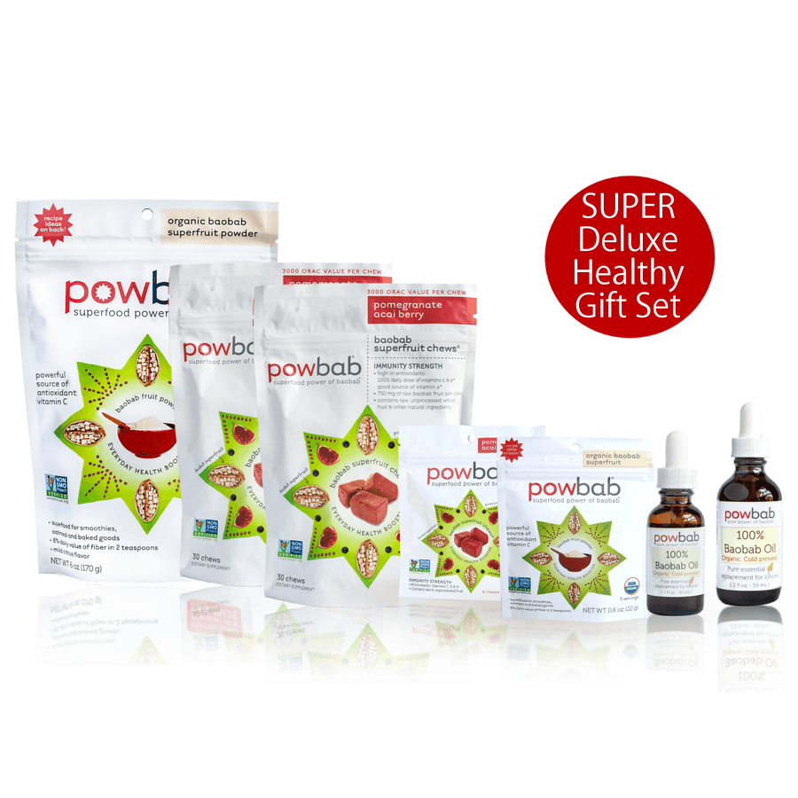 powbab® Healthy SUPER Deluxe Gift Set with organic baobab powder, baobab chews and baobab oil