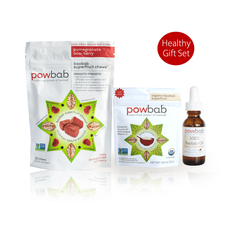 healthy gift set - baobab superfruit chews, baobab fruit powder, 100% baobab oil for skincare