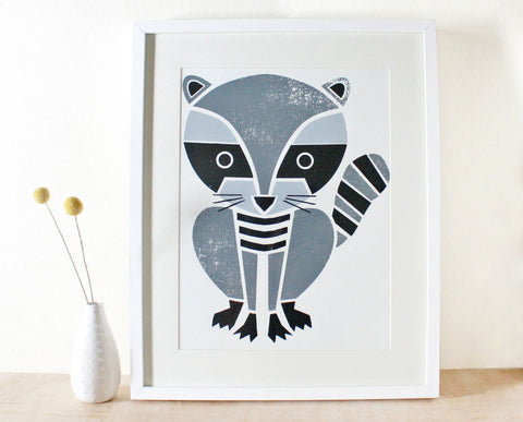 Large Raccoon Screenprint