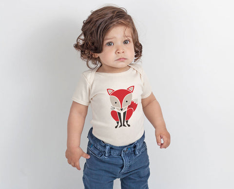 Red Fox Screenprinted Organic Baby Onesie