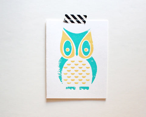 Owl Screenprinted Card