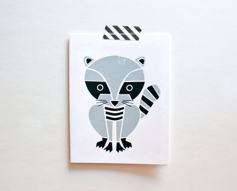 Raccoon Screenprinted Card