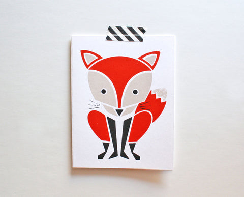 Red Fox Screenprinted Card