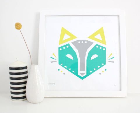 Geometric Fox Screenprint