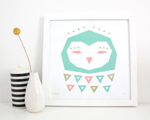 Geometric Owl Screenprint