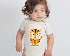 Tiger Screenprinted Organic Baby Onesie