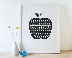 Apple Screenprint- Black