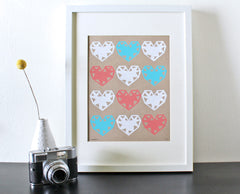 Geo Hearts Screenprint