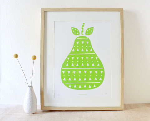 Pear Screenprint- Green
