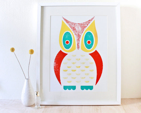 Large Owl Screenprint