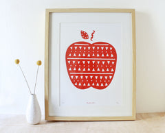 Apple Screenprint- Red