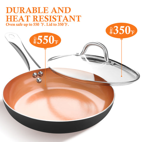 SHINEURI 9.5 inch Copper Fry Pan with Lid, Nonstick Omelet Pans - Perfect for Stir fry, Sauce & Baking, Compatible for Induction, Gas, Electric & Stovetops, Perfect for 2-3 Person Meal(Dark)
