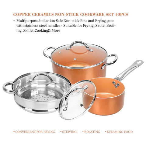 Shineuri 10-piece cookware set copper non-stick pots and pans set